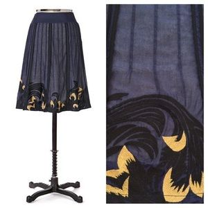 Anthropologie Zell Am See Blue Embroidered Skirt